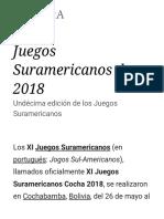 Juegos Suramericanos de 2018 - Wikipedia, La Enciclopedia Libre
