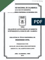 Evaluación de Las Patologías de Los Pavimentos Intertrabados de La Ciudad de Jaén Cajamarca