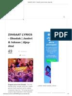 ZINGAAT LYRICS - Dhadak _ Janhvi & Ishaan _ Ajay-Atul