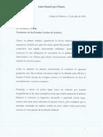 Carta Firmada de Andrés Manuel López Obrador a Donald Trump