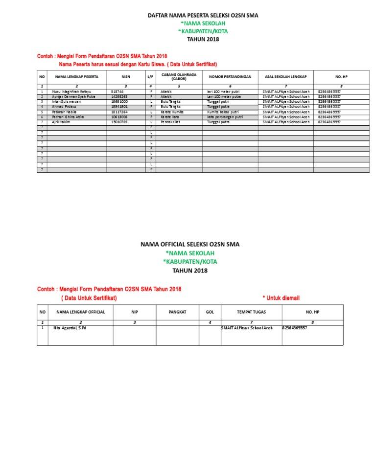 Form Pendaftaran O2sn 2018 Utk Diemail