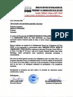 Carta Circular  de SUTPECOS a los sindicatos