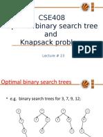 Lecture 23(OBST,Knapsack)