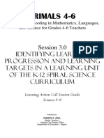 3.0 Identifying Learning Progression and Learning Targets