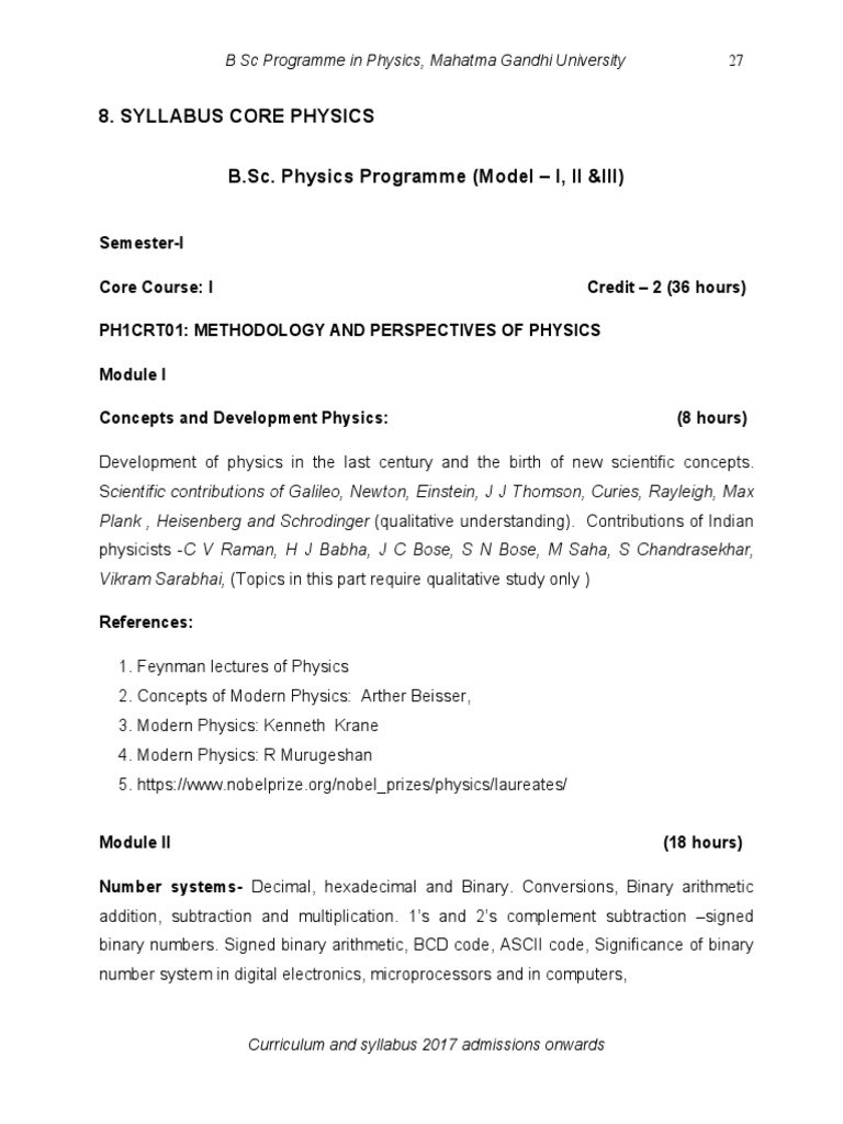 Bsc Syllabus For Physics