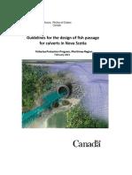 Guidelines for the Design of Fish Passage Nova Scotia