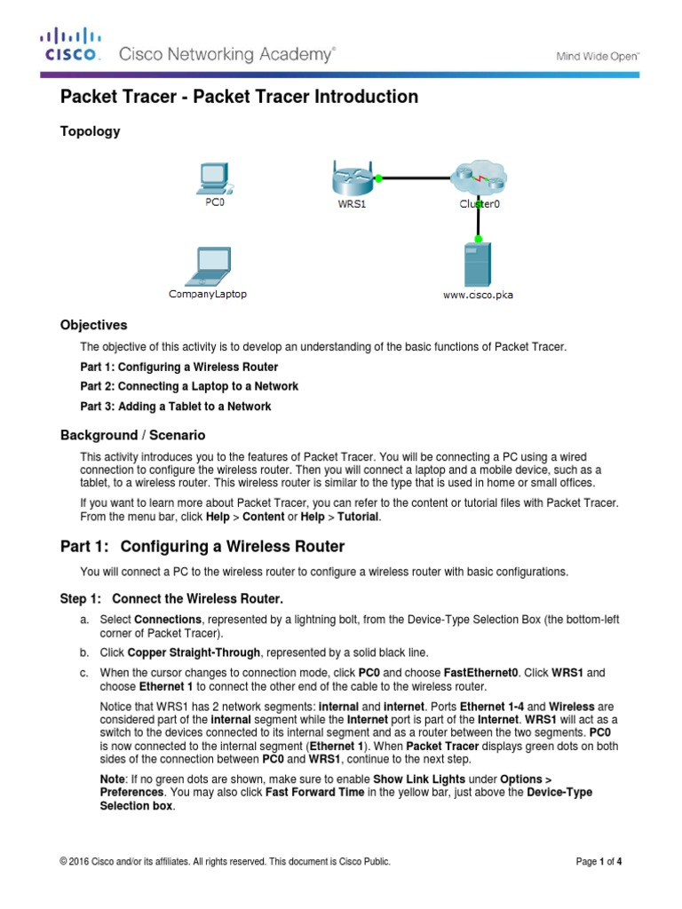 1 3 2 6 Packet Tracer - Packet Tracer Introduction | Ip