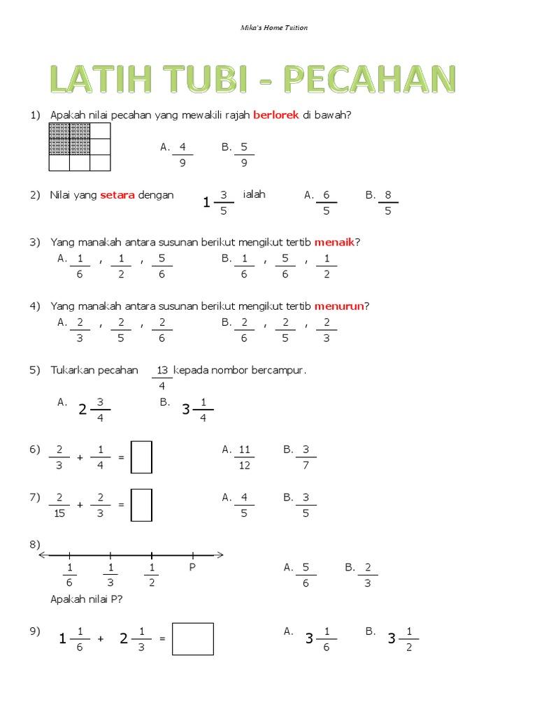 215289613 Latih Tubi Matematik Tahun 4 5 Pecahan Perpuluhan Pdf