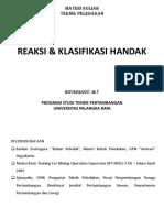 3. Reaksi & Klasifikasi Handak