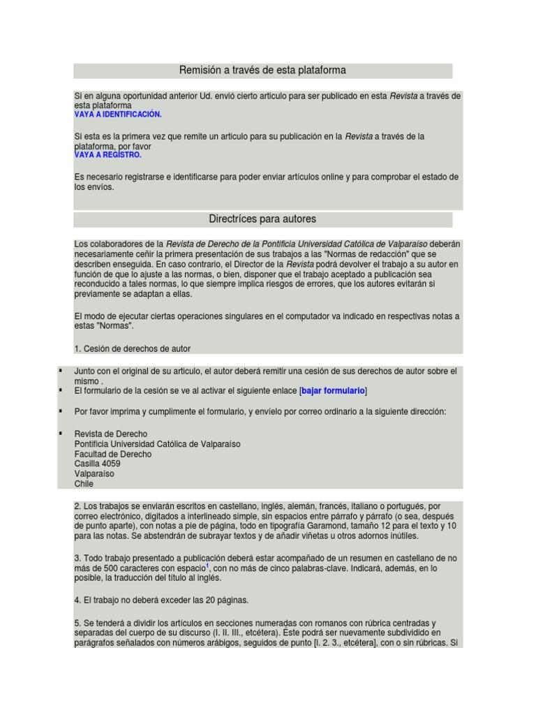 19e9dce350 4. Normas Editoriales Revista de Derecho UValpo