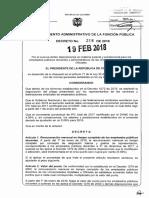 Decreto 318 Del 19 Febrero de 2018