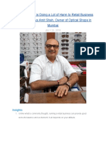 Online Business is Doing a Lot of Harm to Retail Business Like Mine — Says Amit Shah, Owner of Optical Shops in Mumbai in Conversation with MentorClub.in