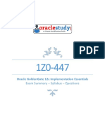1Z0 447 Oracle GoldenGate 12c Implementation Essentials