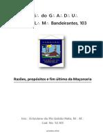 Octaviano Du Pin Galvão Neto - Razões, Propósitos e Fim Último Da Maçonaria