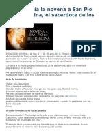 Hoy Se Inicia La Novena a San Pío de Pietrelcina