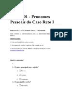 Aula 01 - Pronomes Pessoais Do Caso Reto i - Atividade e Respostas