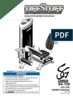TuffStuff Bio-Arc Leg Curl (BA-708) Owner's Manual