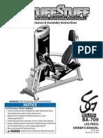 TuffStuff Bio-Arc Leg Press (BA-709) Owner's Manual