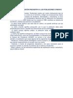 Políticas de Atención Prevetiva a Las Poblaciones e Reisgo