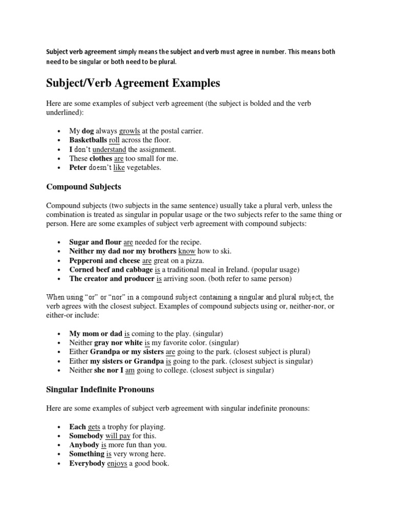 Example Verb Agreement Grammatical Number Plural
