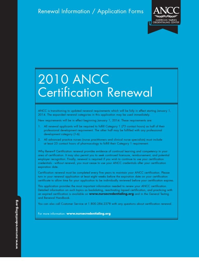 Ancc Application Directions For Renewal Of Certification
