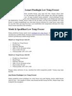 Cari Mesin Pendingin Low Temp Freezer | Simak Halaman di Bawah Sini