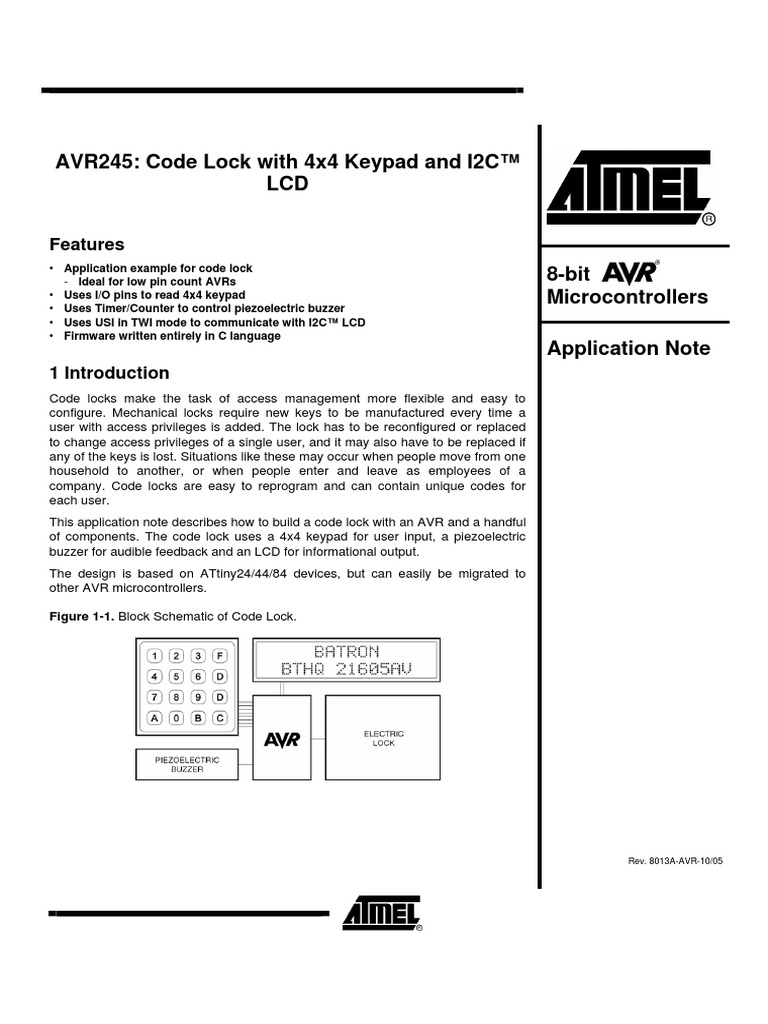 Atmel-Code Lock with 4x4 Keypad and I2C™ LCD | Input/Output