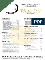 DC Steak House Wine List