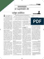 Retiro Por Supresión de Cargo Público - Autor José María Pacori Cari