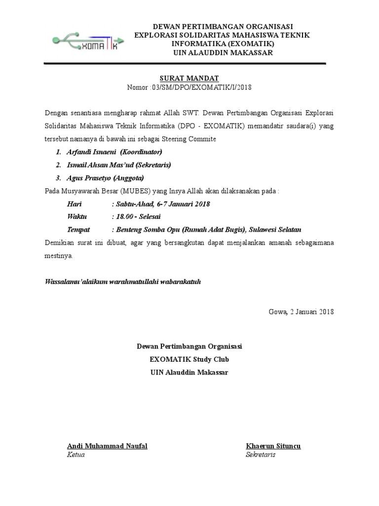Surat Mandat Steering Mubes