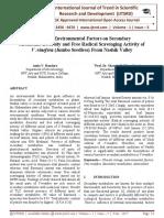 Impact of Environmental Factors on Secondary Metabolite Diversity and Free Radical Scavenging Activity of V .vinefera (Jumbo Seedless) From Nashik Valley