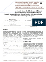 œA Pre Experimental Study to Assess the Effectiveness of Planned Teaching Program on the Knowledge Regarding Prevention of Anaemia Among Adolescent Girls in Selected Government Senior Secondary School'