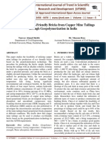 Production of Eco-Friendly Bricks from Copper Mine Tailings through Geopolymerization in India