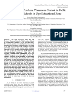 Class Size and Teachers Classroom Control in Public Secondary Schools in Uyo Educational Zone