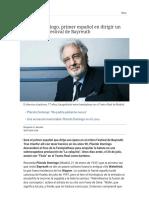 Plácido Domingo, Primer Español en Dirigir Un Ópera en El Festival de Bayreuth