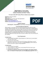 High Beginner Conversation Syllabus- Fall 2010