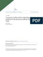 Comparison of Power Flow Algorithms for Inclusion in on-line Powe