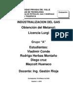 Obtencion de Metanol Tecnologia Lurgi