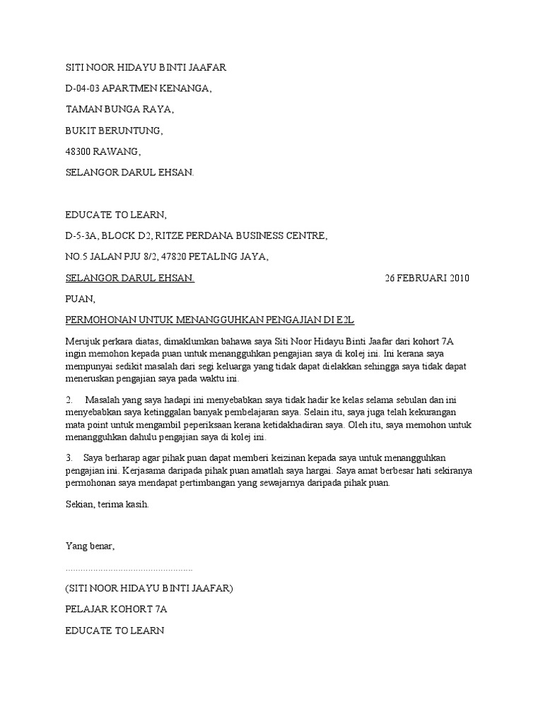 Contoh Surat Rasmi Berhenti Belajar Kolej  Info Melayu