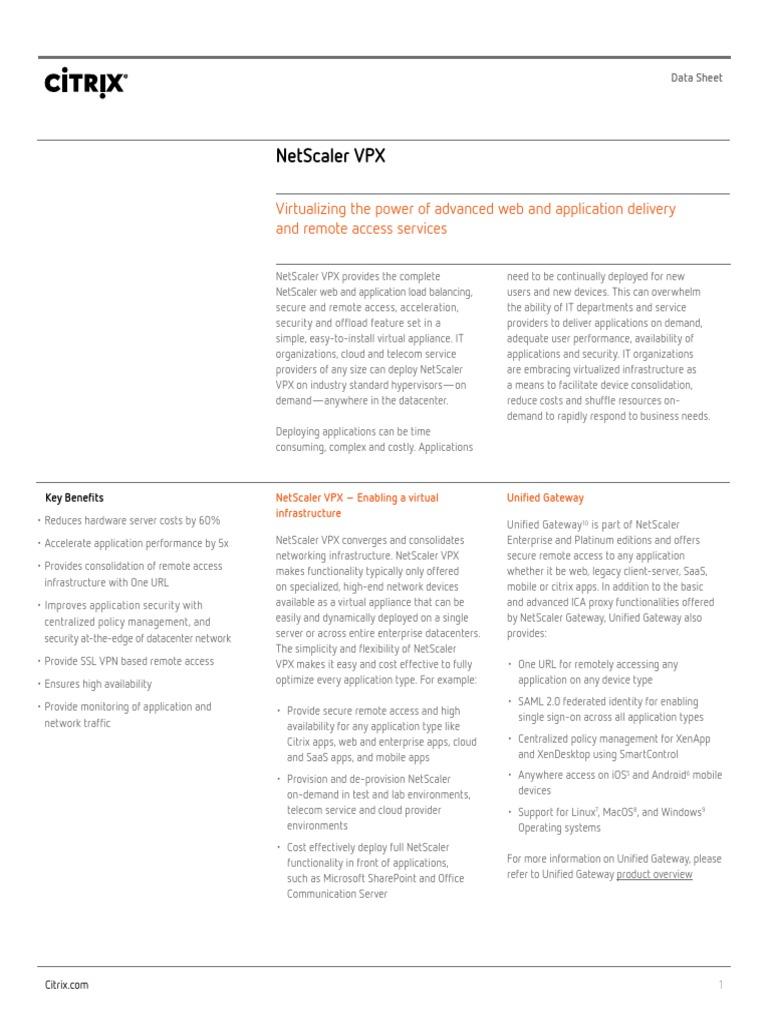 Netscaler Vpx Data Sheet   Citrix Systems   Data Center