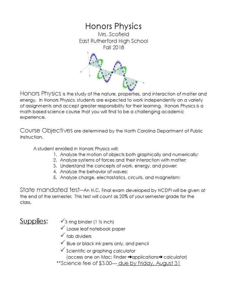 honors physics syllabus f-18 | Homework | Behavior Modification