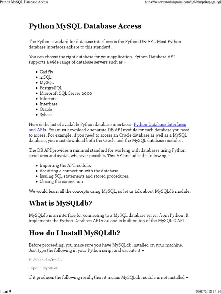 Python MySQL Database Access | Database Transaction | My Sql