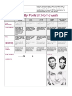 celebrity portrait homework rubric