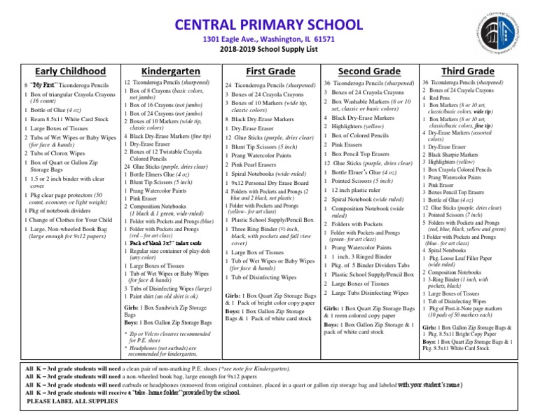 2018 Central K-3rd Supply List | Notebook | Pencil
