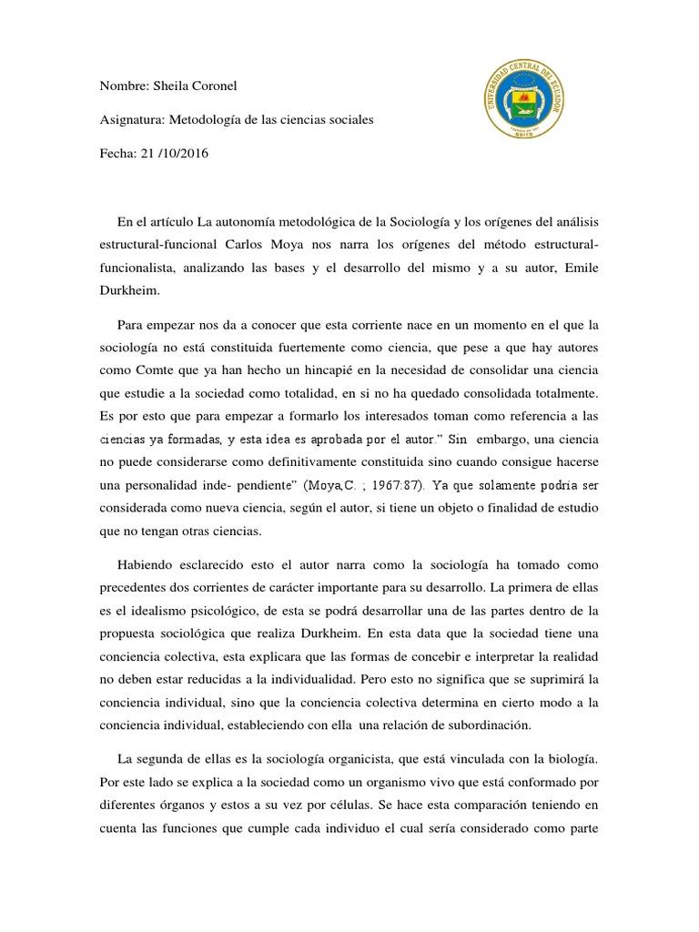 Metodologia Estructural Funcionalista émile Durkheim