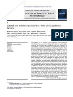 Lateral and Medial Epicondylitis Role of Occupational Factors