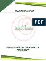 Catalogo de Productos Promotores y Reguladores de Crecimiento
