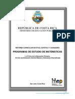 Programas de Estudios de Matematicas Cr v2