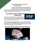 Judi Poker Online Dengan Uang Asli Terpercaya