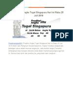 Prediksi Angka Togel Singapura Hari Ini Rabu 25 Juli 2018